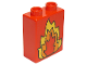 Part No: 4066pb052  Name: Duplo, Brick 1 x 2 x 2 with Fire Pattern
