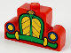 Part No: 4088px6  Name: Brick, Modified 1 x 4 x 2 Center Stud Top with Car Grille Mickey green/yellow Pattern