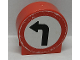 Part No: 41970pb16  Name: Duplo, Brick 1 x 3 x 2 Round Top Road Sign with Left Turning Arrow Pattern (Sticker) - Set 9211