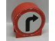 Part No: 41970pb17  Name: Duplo, Brick 1 x 3 x 2 Round Top Road Sign with Right Turning Arrow Pattern (Sticker) - Set 9211