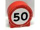 Part No: 41970pb18  Name: Duplo, Brick 1 x 3 x 2 Round Top Road Sign with 50 Pattern (Sticker) - Set 9211