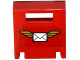 Part No: 4346pb32  Name: Container, Box 2 x 2 x 2 Door with Slot and Envelope with Wings on Red Background Pattern  (Sticker) - Set 60100