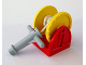 Part No: 4654c03  Name: Duplo Hose Reel Holder 2 x 2 with Yellow Drum, Light Gray Hose Nozzle with Handles, String