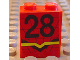 Part No: 4864pb004C  Name: Panel 1 x 2 x 2 with Number 28 and Lines Dropping Down at Center Pattern (Sticker)