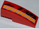 Part No: 50950pb058R  Name: Slope, Curved 3 x 1 No Studs with Orange and White Lines Pattern Model Right Side (Sticker) - Set 9092