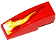 Part No: 50950pb077L  Name: Slope, Curved 3 x 1 No Studs with White, Yellow and Dark Red Flame Pattern Model Left Side (Sticker) - Set 70727