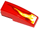 Part No: 50950pb077R  Name: Slope, Curved 3 x 1 No Studs with White, Yellow and Dark Red Flame Pattern Model Right Side (Sticker) - Set 70727