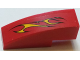Part No: 50950pb107L  Name: Slope, Curved 3 x 1 No Studs with Flames on Red Background Pattern Model Left Side (Sticker) - Set 60027