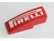 Part No: 50950pb109  Name: Slope, Curved 3 x 1 No Studs with White 'PIRELLI' on Red Background Pattern (Sticker) - Set 8143