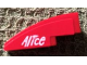 Part No: 50950pb110L  Name: Slope, Curved 3 x 1 No Studs with White 'Alice' on Red Background Pattern Model Left Side (Sticker) - Set 8142-2
