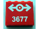 Part No: 60581pb004  Name: Panel 1 x 4 x 3 with Side Supports - Hollow Studs with Train Logo White and '3677' Pattern (Sticker) - Set 3677