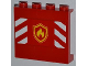 Part No: 60581pb014  Name: Panel 1 x 4 x 3 with Side Supports - Hollow Studs with Yellow and Red Fire Logo Badge and Red and White Danger Stripes Pattern (Sticker) - Set 4208