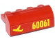 Part No: 6081pb016L  Name: Brick, Modified 2 x 4 x 1 1/3 with Curved Top with Yellow '60061' and Airplane Pattern Model Left Side (Sticker) - Set 60061