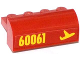 Part No: 6081pb016R  Name: Brick, Modified 2 x 4 x 1 1/3 with Curved Top with Yellow '60061' and Airplane Pattern Model Right Side (Sticker) - Set 60061