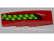 Part No: 61678pb027L  Name: Slope, Curved 4 x 1 No Studs with Lime and Green Checkered Stripe Pattern Model Left Side (Sticker) - Set 7967