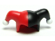 Part No: 62537pb01  Name: Minifigure, Headgear Jester's Cap with Black Left Side and White Pom Poms Pattern