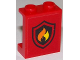 Part No: 87552pb028  Name: Panel 1 x 2 x 2 with Side Supports - Hollow Studs with Fire Logo on Red Background Pattern (Sticker)