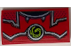Part No: 88930pb096  Name: Slope, Curved 2 x 4 x 2/3 No Studs with Bottom Tubes with Red and Metallic Silver Armor and Lime Swirl Symbol Pattern (Sticker) - Set 70669