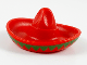 Part No: 90307pb02  Name: Minifigure, Headgear Hat, Mexican Sombrero with Bright Green Trim Pattern