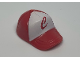 Part No: 93219pb01  Name: Minifig, Headgear Cap - Short Curved Bill with Seams and Button on Top and Red 'C' on White Pattern