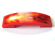 Part No: 93273pb040  Name: Slope, Curved 4 x 1 Double No Studs with White, Yellow, Orange, and Dark Red Flames Pattern