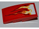 Part No: 93606pb004R  Name: Slope, Curved 4 x 2 No Studs with White and Yellow Flames Pattern Model Right Side (Sticker) - Set 9441