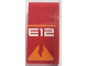 Part No: 93606pb092  Name: Slope, Curved 4 x 2 No Studs with Orange Line and Broken Triangle and White 'E12' Pattern (Sticker) - Set 70615