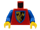 Part No: 973p42c01  Name: Torso Castle Crusaders Crossed Axe Shield Pattern / Blue Arms / Yellow Hands