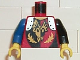 Part No: 973pb0074c02  Name: Torso Castle Dragon Knights Dragon Face breathing Fire Pattern / Black Arm Left / Blue Arm Right / Yellow Hands