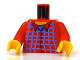 Part No: 973pb0110c01  Name: Torso Harry Potter Blue Box Striped Button Shirt Pattern / Red Arms / Yellow Hands