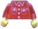 Part No: 973pb0388c01  Name: Torso Town Shirt with 4 Buttons and 2 Pockets Pattern (Sticker) / Red Arms / Yellow Hands