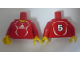 Part No: 973pb0555c01  Name: Torso Soccer Adidas Logo, Red and White No. 5 Pattern (Stickers) / Red Arms / Yellow Hands