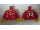 Part No: 973pb0558c01  Name: Torso Soccer Adidas Logo, Red and White No. 10 Pattern (Stickers) / Red Arms / Yellow Hands
