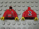 Part No: 973pb0614c01  Name: Torso Soccer Black Fading Stripes and No. 2 Front and Back, Lego Logo on Front / Red Arms / Yellow Hands