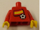 Part No: 973pb0769c01  Name: Torso Soccer Red/White Team, Spanish Flag Sticker Front, Black Number Sticker Back (specify number in listing) / Red Arms / Yellow Hands