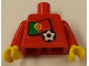 Part No: 973pb0776c01  Name: Torso Soccer Red/White Team, Portuguese Flag Sticker Front, Black Number Sticker Back (specify number in listing) / Red Arms / Yellow Hands