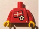Part No: 973pb0811c01  Name: Torso Soccer Red/White Team, Danish Flag Sticker Front, Black Number Sticker Back (specify number in listing) / Red Arms / Yellow Hands