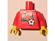 Part No: 973pb0821c01  Name: Torso Soccer Red/White Team, Welsh Flag Sticker Front, Black Number Sticker Back (specify number in listing) / Red Arms / Yellow Hands