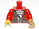 Part No: 973pb1245c01  Name: Torso Pirate Captain with White Ruffled Shirt, Brown Belt and Shoulder Strap Pattern/ Red Arms / Yellow Hand Right / Pearl Gold Hook Left