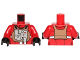 Part No: 973pb1376c01  Name: Torso SW Rebel B-wing Pilot with Medium Dark Flesh Vest and Silver Front Panel Pattern / Red Arms / Black Hands