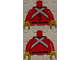 Part No: 973pb1397c01  Name: Torso Royal Guard Uniform with Black Buttons and White Crossed Belts Pattern / Red Arms / Yellow Hands