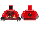 Part No: 973pb1575c01  Name: Torso Ninjago Robe with Dark Red Sash and Fire Power Emblem Pattern / Red Arms / Black Hands