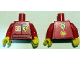 Part No: 973pb1763c02  Name: Torso Racers Ferrari front, Shell back (Stickers) without Driver Name Pattern / Red Arms / Yellow Hands