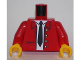 Part No: 973pb1782c01  Name: Torso Jacket Open with White Shirt, Black Tie and 4 Buttons Pattern / Red Arms / Yellow Hands
