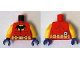 Part No: 973pb1855c01  Name: Torso Batman Logo on Light Orange Oval with Muscles and Gold Belt Front and Back Pattern / Yellow Arms / Dark Purple Hands