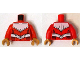 Part No: 973pb1858c01  Name: Torso Armor White with Black Muscles Outline and White Belt Pattern / Red Arms / Pearl Gold Hands