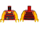 Part No: 973pb1928c01  Name: Torso Pirate Stripes Black with Brown Belt with Buckle Pattern / Yellow Arms / Yellow Hands