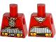 Part No: 973pb2287  Name: Torso Batman Muscles Outline, Medallion and Black Silver Belt with Orange Pouches Pattern