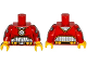 Part No: 973pb2287c01  Name: Torso Batman Muscles Outline, Medallion and Black Silver Belt with Orange Pouches Pattern / Red Arms with Wrist Guns Pattern / Yellow Hands