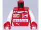 Part No: 973pb2639c01  Name: Torso Speed Champions with Shell, UPS, Ferrari, Puma and Red Santander Logo Front, Ferrari Logo Back Pattern / White Arms / Red Hands